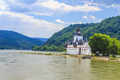Burg Pfalzgrafenstein. The Burg Pfalzgrafenstein, a castle on the island Falkenau, also known as the island of Pfalz, in the River Rhine at Kaub, Germany. The stock photo
