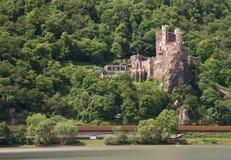 Burg Rheinstein at the Rhine valley. Long Exposure version, Hessen, Germany royalty free stock photography