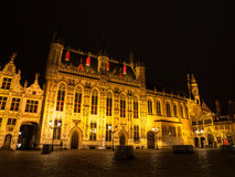 Burg square with the City Hall in Bruges by night Royalty Free Stock Photography