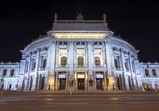 Burg theater at night, Vienna, Austria royalty free stock photography