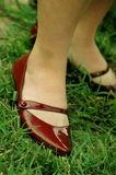 Burgandy Shoes Against Grass. Woman's feet in burgandy shoes, against green grass Stock Image