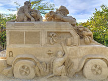 BURGAS BUŁGARIA, PAŹDZIERNIK, - 04: Piasek rzeźba na PAŹDZIERNIKU 04, 2015 w Burgas, Bułgaria Obraz Royalty Free