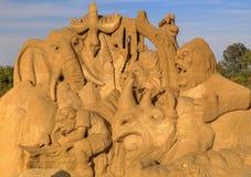 BURGAS BUŁGARIA, PAŹDZIERNIK, - 04: Piasek rzeźba na PAŹDZIERNIKU 04, 2015 w Burgas, Bułgaria Fotografia Royalty Free