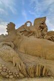 BURGAS BUŁGARIA, PAŹDZIERNIK, - 04: Piasek rzeźba na PAŹDZIERNIKU 04, 2015 w Burgas, Bułgaria Zdjęcie Stock