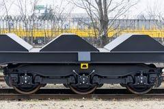 Burgas Bułgaria, Styczeń, - 24, 2017 Frachtowy ładunku pociąg - bla Zdjęcia Stock