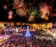 Burgas, Bulgaria - December 6, 2018: Christmas Tree Lighting Ceremony with fireworks stock photography