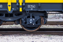 Free Burgas, Bulgaria - January 27, 2017 -Wheel - Yellow Black New 4-axled Flat Cars Wagons Type:Res Model:072-2- Transvagon AD Royalty Free Stock Image - 85274216