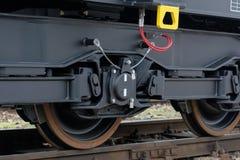 Burgas, Bulgaria - January 24, 2017. Freight cargo train - black cars wagons. New 6-axled flat wagon ,Type: Sahmmn, Model WW 6 Stock Images