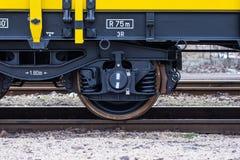 Burgas, Bulgaria - January 27, 2017 -Wheel - yellow black New 4-axled flat cars wagons Type:Res Model:072-2- Transvagon AD Royalty Free Stock Image