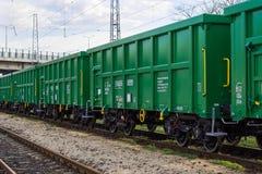 Burgas, Bulgaria - March 20, 2017 - Freight cargo train - 4axled box wagon green Type:Eanos Model:155-1 - Transvagon AD Stock Photo