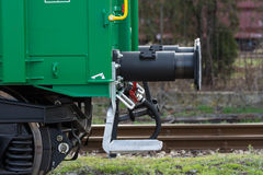 Burgas, Bulgaria - March 20, 2017 - Freight cargo train Buffer- 4axled box wagon green Type:Eanos Model:155-1 - Transvagon AD Royalty Free Stock Images