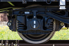 Burgas, Bulgaria - March 20, 2017 - Freight cargo train Wheel - 4axled flat wagon white Type:Rens Model:192, B - Transvagon AD. Burgas, Bulgaria - March 20, 2017 Stock Photography
