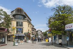 Typical street and Building in the center of city of Burgas, Bulgaria royalty free stock images