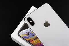 BURGAS, BULGARIA - NOVEMBER 8, 2018: Apple iPhone Xs Max Silver on black background, back view.  royalty free stock images