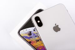 BURGAS, BULGARIA - NOVEMBER 8, 2018: Apple iPhone Xs Max Silver on white background, back view.  royalty free stock photography