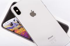 BURGAS, BULGARIA - NOVEMBER 8, 2018: Apple iPhone Xs Max Silver on white background, back view.  stock images
