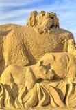 BURGAS, BULGARIA - OCTOBER 04: Sand sculpture on OCTOBER 04, 2015 in Burgas, Bulgaria Royalty Free Stock Image