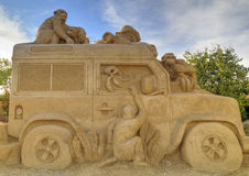 BURGAS, BULGARIA - OCTOBER 04: Sand sculpture on OCTOBER 04, 2015 in Burgas, Bulgaria stock photography