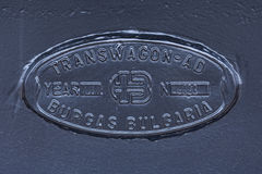Burgas, Bulgarien - 24. Januar 2017 - schwarze neue Transvagon-ANZEIGE Logo Steel-Platte lizenzfreie stockbilder