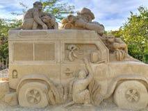 BURGAS BULGARIEN - OKTOBER 04: Sandpappra skulptur på OKTOBER 04, 2015 i Burgas, Bulgarien Royaltyfri Bild