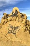 BURGAS BULGARIEN - OKTOBER 04: Sandpappra skulptur på OKTOBER 04, 2015 i Burgas, Bulgarien Royaltyfria Foton