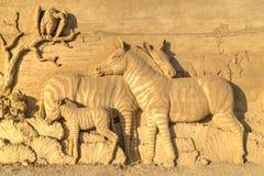 BURGAS BULGARIEN - OKTOBER 04: Sandpappra skulptur på OKTOBER 04, 2015 i Burgas, Bulgarien Royaltyfri Foto