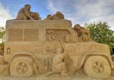 BURGAS BULGARIEN - OKTOBER 04: Sandpappra skulptur på OKTOBER 04, 2015 i Burgas, Bulgarien Arkivbild