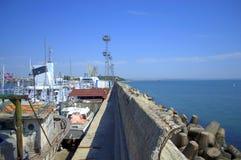 Burgas city breakwater and port,Bulgaria Stock Photos