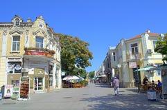 Burgas city street view. Summertime main pedestrian street view,Burgas city,Bulgaria Stock Photo