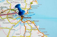 Burgas on map. With push pin Royalty Free Stock Images
