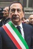 Burgemeester Giuseppe Sala neemt aan de parade van de Bevrijdingsdag deel Royalty-vrije Stock Afbeelding