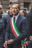Burgemeester Giuseppe Sala neemt aan de parade van de Bevrijdingsdag deel Royalty-vrije Stock Foto's