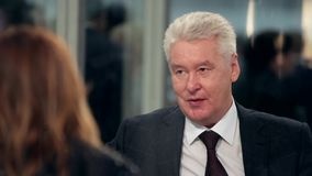 Burgemeester van de staatsmanpoliticus Sergey van Moskou stock video