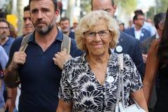 Burgemeester van Madrid Manuela Carmena bij manifestatie tegen terrorisme royalty-vrije stock foto