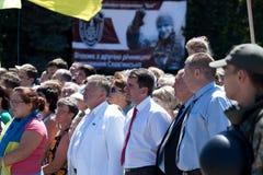 Burgemeester van Sloviansk Vadim Lyakh en anderen op de vergadering Stock Afbeeldingen