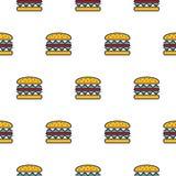 Burger άνευ ραφής διανυσματικό σχέδιο εικονιδίων γραμμών Στοκ Εικόνες