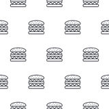 Burger άνευ ραφής διανυσματικό σχέδιο εικονιδίων γραμμών Στοκ φωτογραφία με δικαίωμα ελεύθερης χρήσης