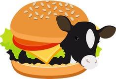 Burger αγελάδων burger βόειου κρέατος Αγελάδα μέσα σε ένα χάμπουργκερ Έννοια της χορτοφαγίας, veganism Απεικόνιση ράστερ που απομ ελεύθερη απεικόνιση δικαιώματος
