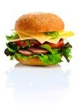burger ανασκόπησης απομόνωσε το λευκό Στοκ Εικόνα