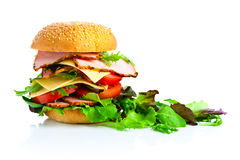burger ανασκόπησης λευκό σειράς παλιοπραγμάτων εικόνας τροφίμων Στοκ Εικόνες
