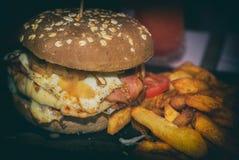 burger ανασκόπησης τα βαθιά τρόφιμα ψαριών αγγουριών έννοιας κοτόπουλου τυριών τηγάνισαν την ντομάτα σάντουιτς μαρουλιού παλιοπρα Στοκ Εικόνες
