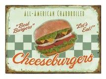 Burger αναδρομικό σημάδι αφισών Στοκ Φωτογραφίες