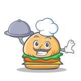 Burger αρχιμαγείρων γρήγορο φαγητό χαρακτήρα με τα τρόφιμα Στοκ Εικόνες