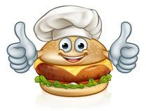Burger αρχιμαγείρων μασκότ χαρακτήρα κινουμένων σχεδίων τροφίμων Στοκ φωτογραφίες με δικαίωμα ελεύθερης χρήσης