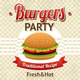 Burger αφίσα κόμματος Στοκ εικόνες με δικαίωμα ελεύθερης χρήσης