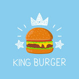 Burger βασιλιάδων διανυσματικά κινούμενα σχέδια έννοιας επίπεδα και doodle απεικόνιση Στοκ Φωτογραφία