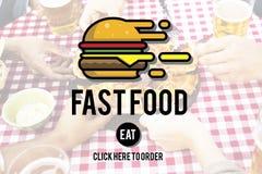 Burger γρήγορου γεύματος take-$l*away έννοια θερμίδων γεύματος παλιοπραγμάτων Στοκ Εικόνες
