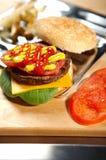 burger γρήγορο φαγητό Στοκ Φωτογραφία