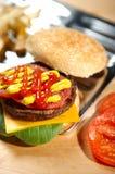 burger γρήγορο φαγητό Στοκ Φωτογραφίες
