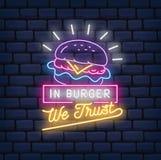 Burger διανυσματική απεικόνιση σημαδιών νέου εστιατορίων απεικόνιση αποθεμάτων
